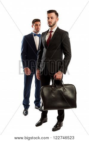 Two business men full body on white studio background
