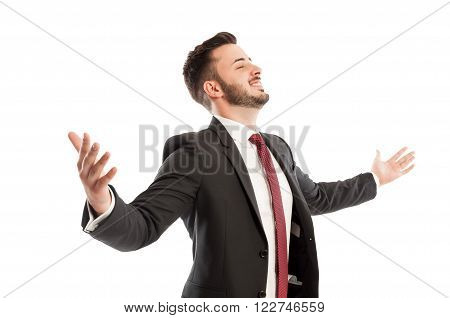 Successful Business Man Spreading Arms