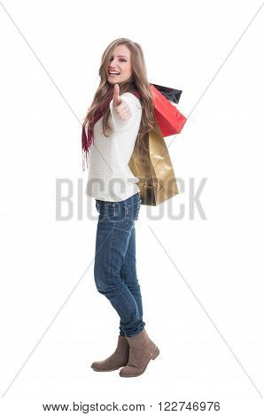 Shopping Girl Showing Thumbs Up