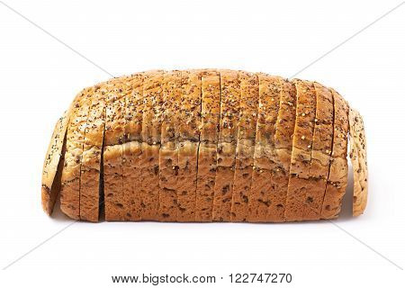 Sliced white bread's loaf with seeds isolated over the white background