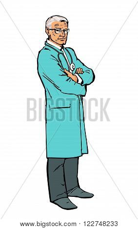 Old man physician. Physician Specialist. Serious doctor. Doctor warns. Doctor stands. Male doctor - neurologist, orthopedist. Cardiologist doctor, surgeon doctor. Vector doctor. Sketch illustration