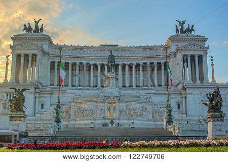 Rome, Italy: Vittoriano, Victor Emmanuel II Monument, Altar of the Nation, Italian: Il Vitoriano, Monumento Nazionale a Vittorio Emanuele II, Altare della Patria. Venezia Square, Italian: Piazza Venezia.