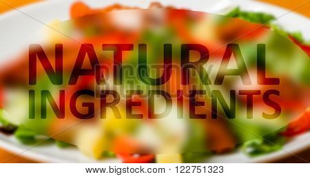 Food with natural ingredients concept with written text and various food background