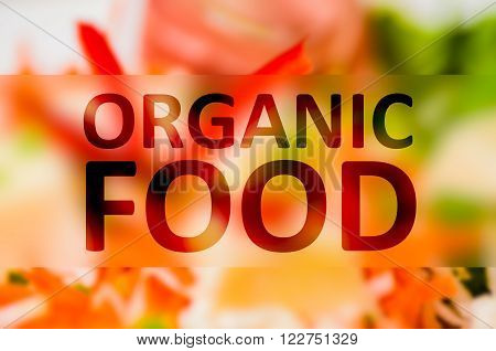 Organic food text concept with colored vegetable background