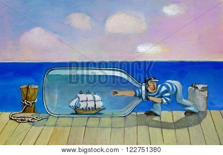 a sailor on a pier should take a closed vessel in a bottglia to sail on the sea behind her