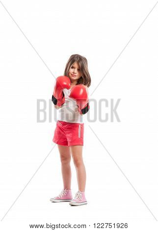 Young Boxer Girl Standing As A Fighter