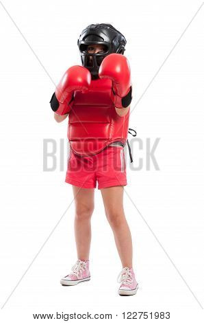 Full Body Of A Young Boxer Girl With Equipment