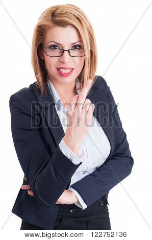 Business Woman Showing The Middle Finger