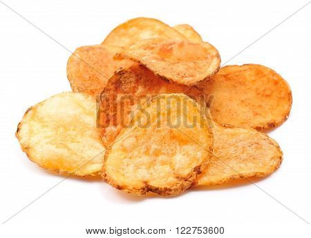 Homemade potato chips isolated on white .