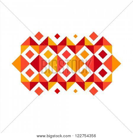 Geometric design element. Geometric composition Abstract ornament red and yellow squares & triangles. minimalistic creative concept stock-vector 10 EPS