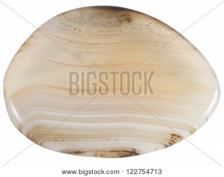 semi-transparent agate pebble macro isolated on white