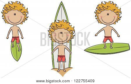 Collection of cute vector surfer boys isolated on white