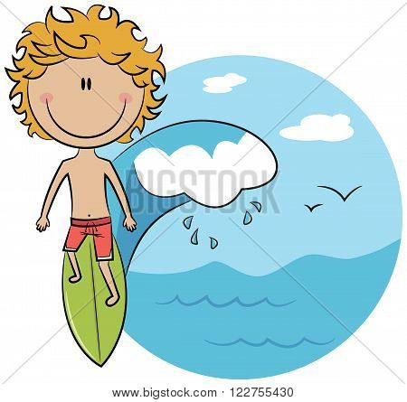 Cute vector surfer boy on a wave rushes