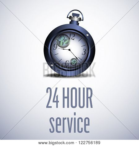 Abstract colorful background with old blue watch and the text twenty four hour service written with blue letters