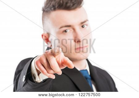 Business Man With Suit Poiting Finger At The Camera