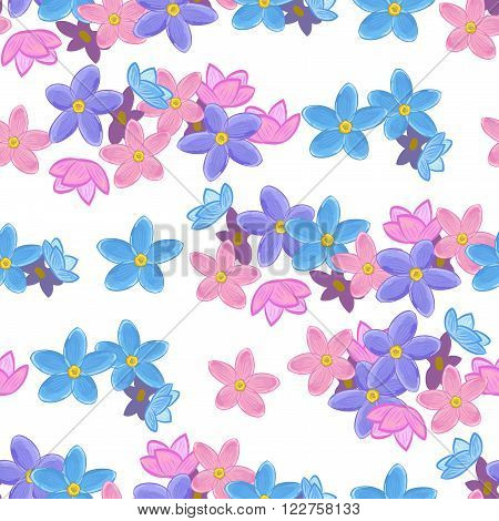 Stylish floral seamless pattern with forget-me-not. Forget me not flowers. Digital or wrapping paper