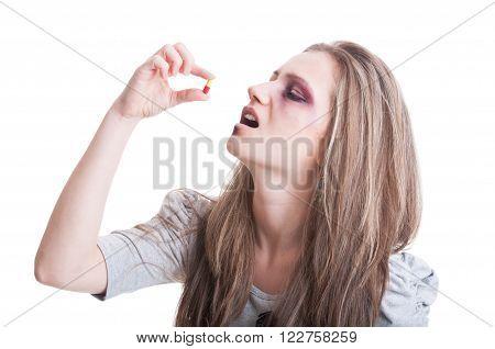 Abused, Beaten And Injured Woman Taking Antibiotics