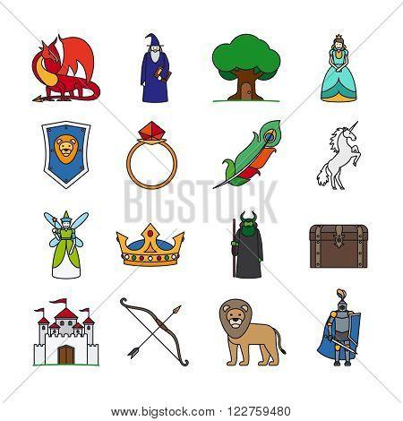 Fairy Tale Line Icons. Fairytale thin line vector icons