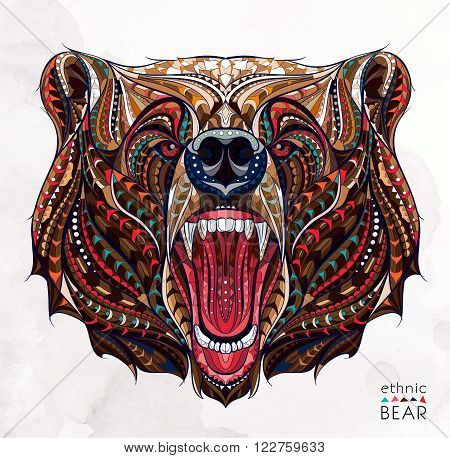 Patterned head of the growling bear on the grunge background. African, indian, totem, tattoo design. It may be used for design of a t-shirt bag postcard a poster and so on.