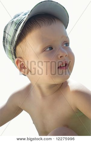 A Little Boy On White Background