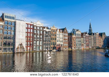 Amsterdam residence buildings on the water the Netherlands.