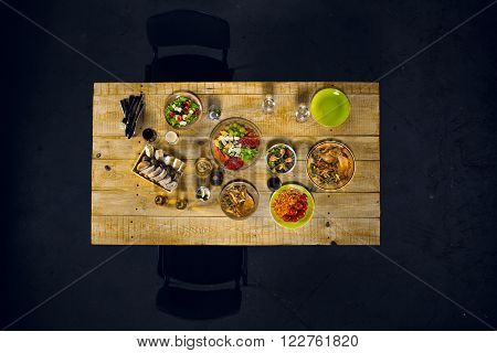 Top view creative photo of delicious meal on wooden vintage table