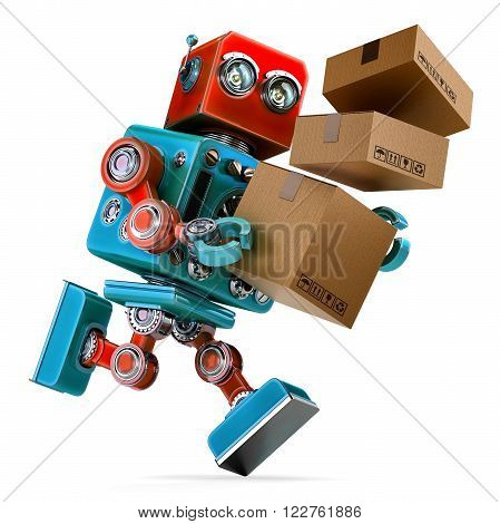 Robot in a rush delivering a package. Parcel Service. Isolated over white. Contains clipping path