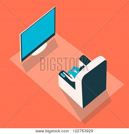 Man sits in a chair in front of TV. Vector illustration. Isometry style