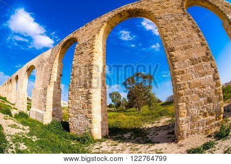 Medieval ruins of Kamares Aqueduct. Larnaca, Cyprus.