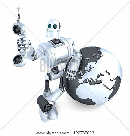 Robot with tablet phone tube and earth globe. Global communication concept. Isolated. Clipping path