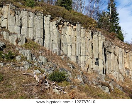 Old basalt quarry in The Ore Mountains - basalt columnar jointing