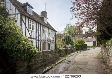 LOOSE KENT UK 11 MAY 2015 - Pretty half timbered cottage in the village of Loose Kent UK