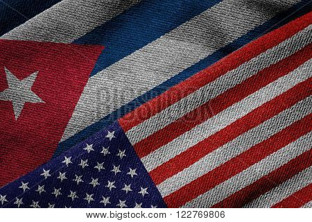 Flags Of Usa And Cuba On Grunge Texture