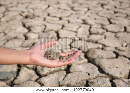 Parched land with hand scattering dry dirt
