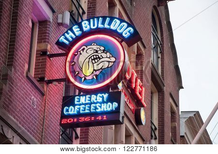 AMSTERDAM-APRIL 27: Amsterdam Bulldog coffeeshop sign-board in red-light district on April 272015 the Netherlands. ** Note: Soft Focus at 100%, best at smaller sizes