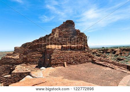 Sunset Crater Volcano,Arizona,USA - August 15, 2010 : The Wupatki Pueblo Indian Ruins in the Sunset Crater Volcano