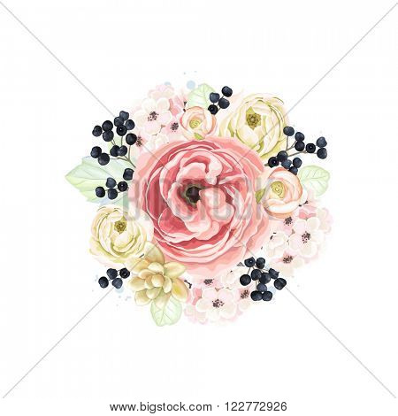 Decorative round ornament of flowers, branches wild Privet Berry and leaves, floral vector illustration in vintage watercolor style.