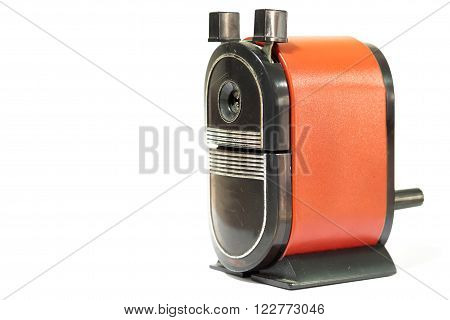 Sharpener of pencil on white background, stock photo