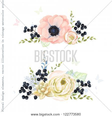 Collection decorative ornaments of flowers, wild Privet Berry, plants and leaves in vintage watercolor style with butterflies.