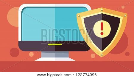 Protection software design flat concept. License driver, software development icon, security license program utilities, licensing secure, safety copyright vector illustration. Shield in front monitor