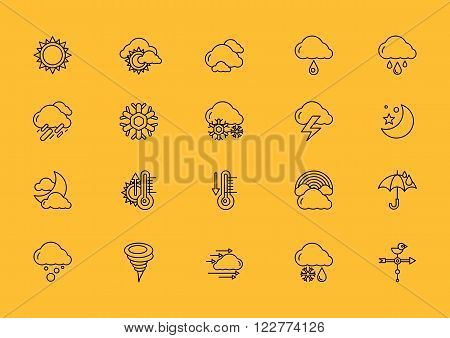 Set of weather thin, lines, outline, strokes icons. Symbols weather snow, rainbow, rain, heat, sunny cloudy, wind black on yellow background. For web and mobile applications