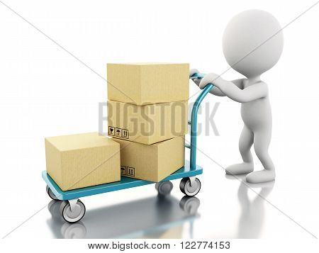 3d renderer image. White people carrying hand truck with cardboard boxes. Isolated white background.