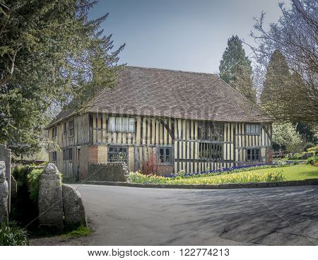LOOSE KENT UK 16 APRIL 2015 - Ancient half timbered house in the pretty village of Loose Kent UK