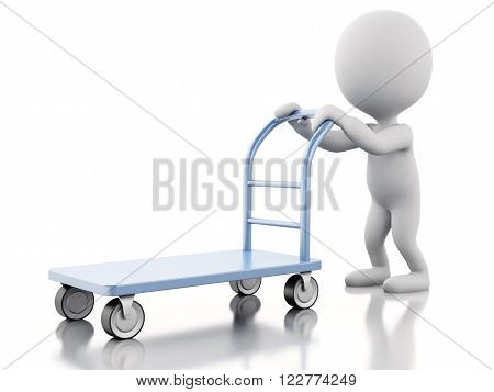 3d renderer image. White people with hand truck. Isolated white background.