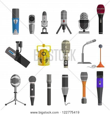 Microphone set design flat isolated icon, vintage microphone stand, sound media, record vocal, karaoke musical vector illustration
