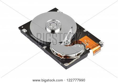 Detailed view of the inside of a hard disk drive (HDD)