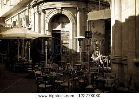 NICOSIA CYPRUS - DECEMBER 3: People enjoying a summer in cafes at Ledra street on December 3 2015 in Nicosia.