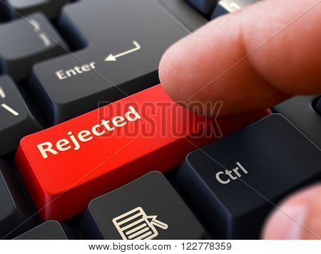 Rejected Concept. Person Click on Red Keyboard Button. Selective Focus. Closeup View. 3D Render.