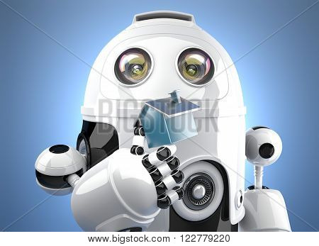 3D Robot holding miniature house figure. Smart Home Concept. Contains clipping path.