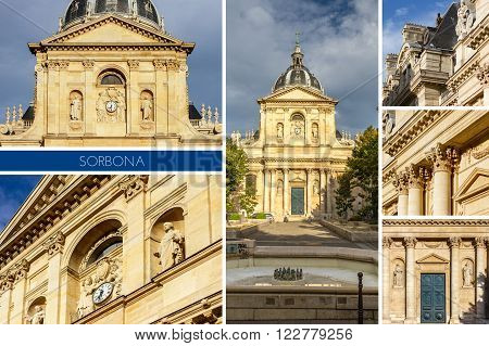 Historical house of Sorbonne the former University of Parisis edifice of the Latin Quarter in Paris France.